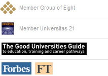 Member group of eight, Member universities 21, The good universities guide, Forbes  ft